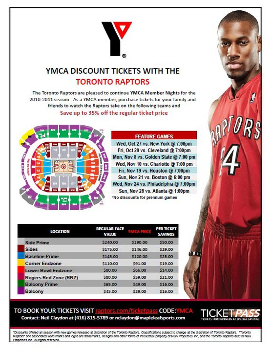 Toronto Raptors: YMCA Discounted Tickets (Save Up to 35% ...