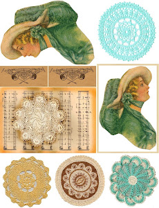 2011 Free Collage Sheet Doilies Vintage Ladies