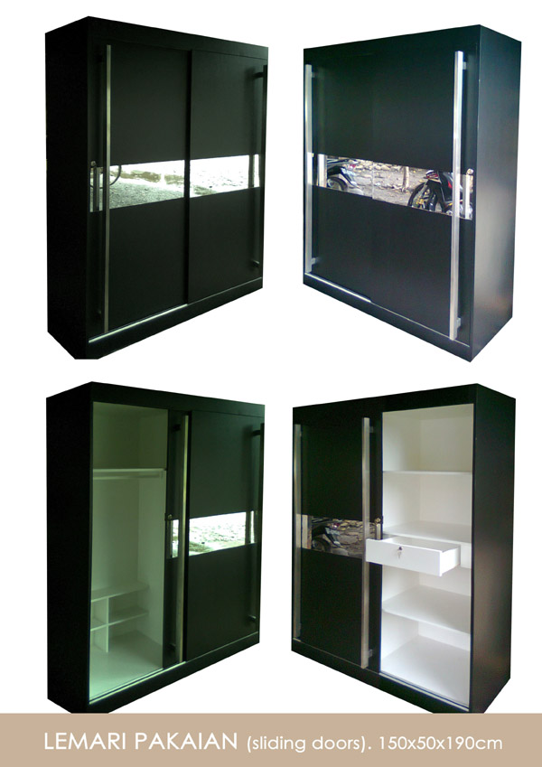 Lemari dengan desain minimalis, dengan pintu sliding yang sangat ...