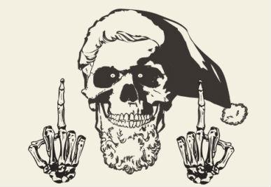 череп, скелет, рождество, рождественский колпак, новогодние ужасы