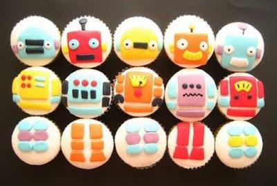 Cupcakes decorados com robôs