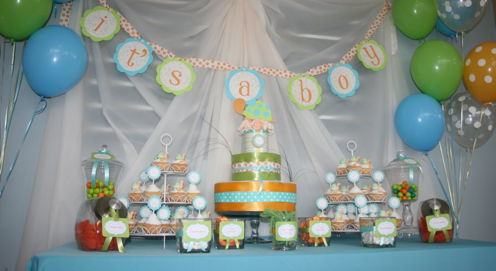 Partylicious events pr turtle baby shower for Baby shower decoration supplies