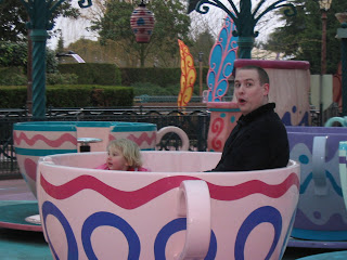 Daddy in a tea cup with Top Ender at Disney Land Paris 2007