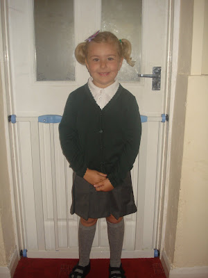 Top Ender in her School Uniform on her First Day of School in 2009