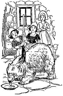 Line drawing of a scene from Number 161 The Tale of Rose Red and Snow White