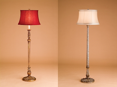 lamp with red silk shade right antique silver column with silk shade. Black Bedroom Furniture Sets. Home Design Ideas