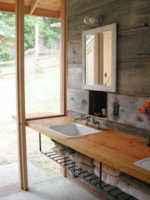 The handwork chronicles outdoor bathroom for Barn conversion bathroom ideas