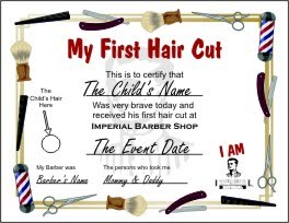 Imperial barber shop news first hair cut certificate