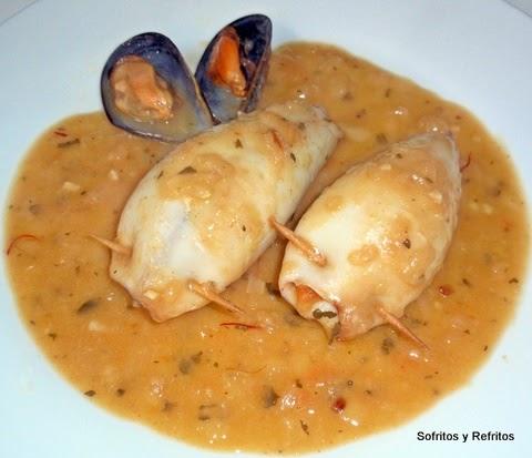 Sofritos y refritos calamares rellenos de carne picada - Limpiar calamares pequenos ...