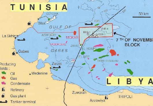 map of libya and tunisia. off Tunisia and Libya.