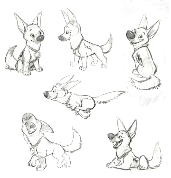 Character Design Dog : Living lines library bolt concept art