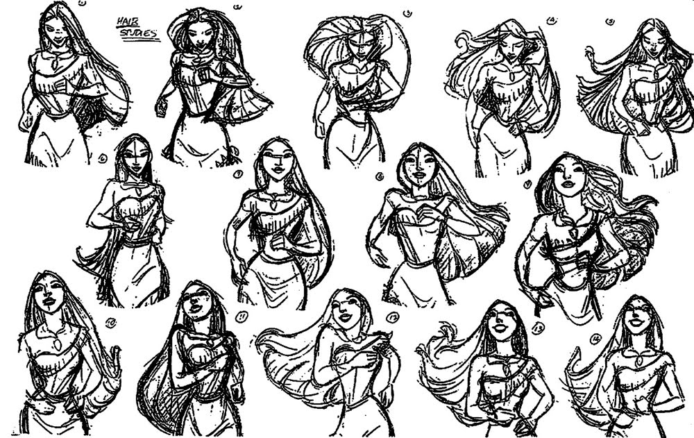 Character Design Principles : Living lines library pocahontas model sheets