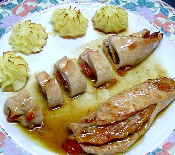 Mis recetas filete de pavo rfelleno de pimientos - Ideas cena de nochevieja ...