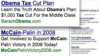 links patrocinados de Obama e McCain