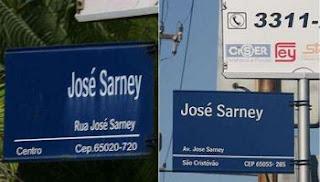 Sarney tem nome de rua e de avenida em São Luis