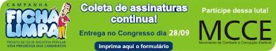 Campanha Ficha Limpa contra os Candidatos Ficha Suja