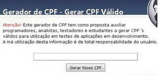 Gerador de CPFs online