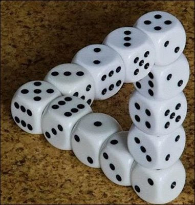 Impossible Dice Triangle Optical Illusion