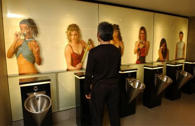 Sexy Girls In Toilet Bathroom Illusion Advertisement