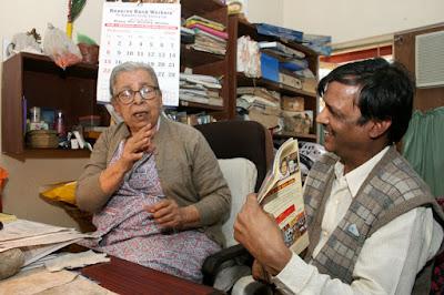 Shambhu Choudhary<br />With Mahasewta Devi