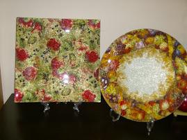 Porcelana vidrada e vidro decorativos