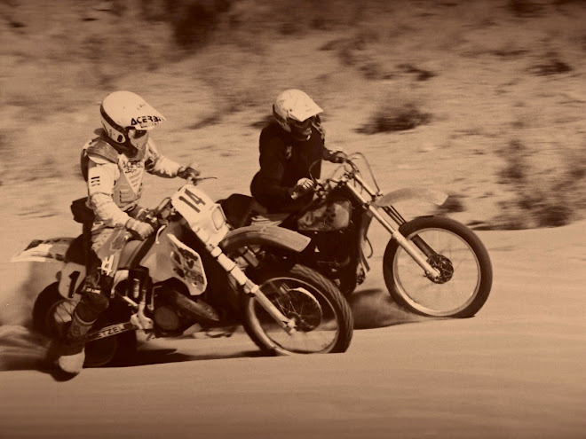 Vintage Brad on the TT500 and other buddy Steve on the 250 KTM.  El Mirage, California.