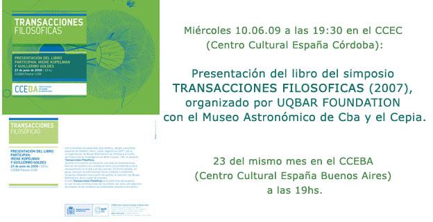 Presentación del libro / Presentation of the book TRANSACCIONES FILOSÓFICAS