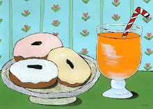 Three Doughnuts and Juice