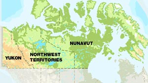 northwest territories nunavut and yukon contain one third of canada
