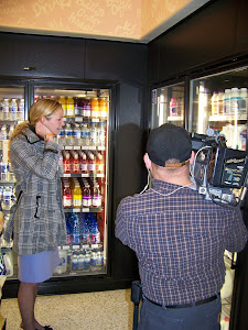Mary being filmed getting a chocolate milk.....