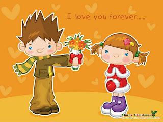 christmas cartoon couple wallpaper