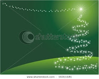 stock vector christmas tree on green wallpaper