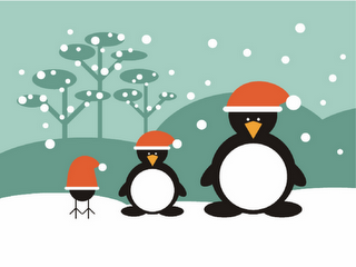 penguins wearing santa cap wallpaper