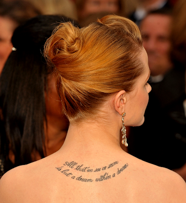 New (soon to be) True Blood cast member Evan Rachel Wood's tattoo.