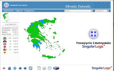 εκλογικός χάρτης αποτελεσμάτων Οκτ. 2009