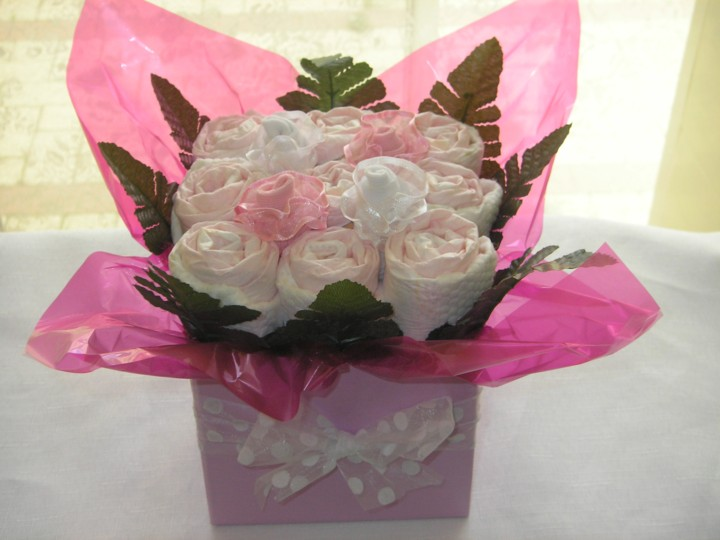 Diary of a perth florist nappy bouquets a great gift idea for year again when baby shower season is upon us perth florist ennis flowers receives regular calls from clients asking for ideas for a neutral gift idea negle Gallery
