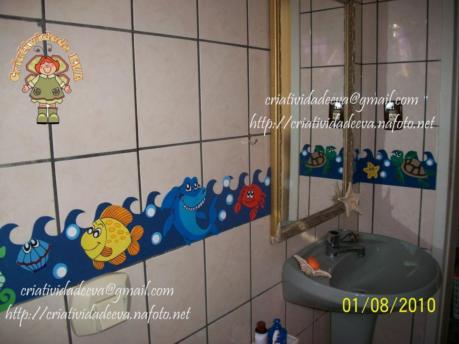 CRIATIVIDADE EVA Decoração Banheiro  Fundo do Mar -> Decoracao De Banheiro Infantil Com Eva
