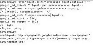 embed adsense code