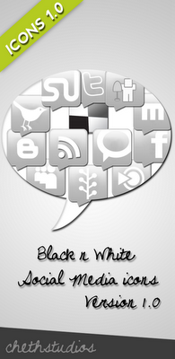 Black White Social Media Icon