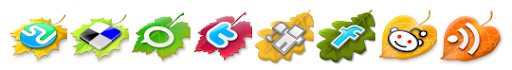 Leaves Fall Social Bookmark Icons For Blogger Post