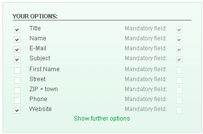 PHP Contact Form fields select