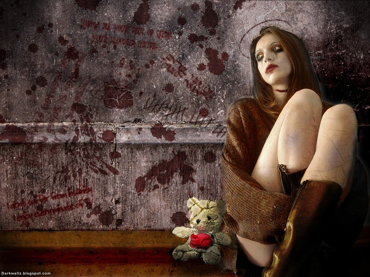 Lonely Gothic Girl With Teddy Bear | Dark Wallpaper Download