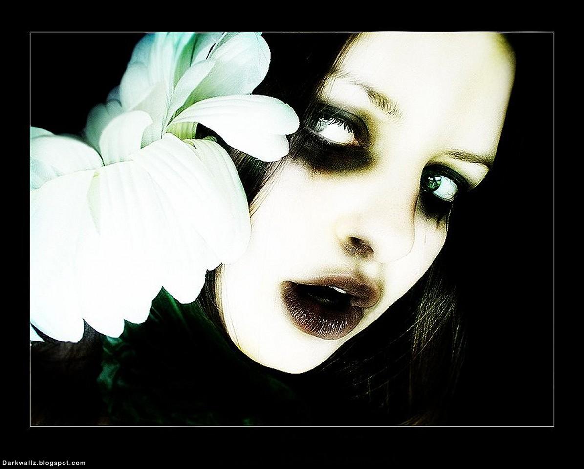 Gothic Girl With Flower | Dark Wallpaper Download