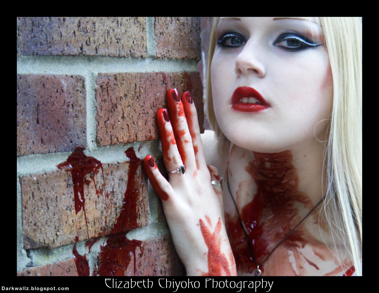 Bloody Blonde Goth Girl | Dark Wallpaper Download