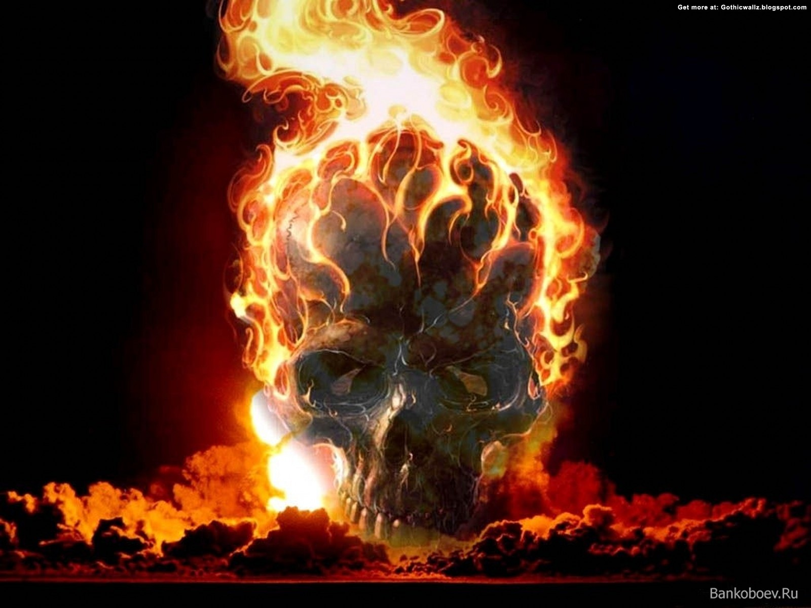 Skull on Fire | Gothic Wallpaper Download