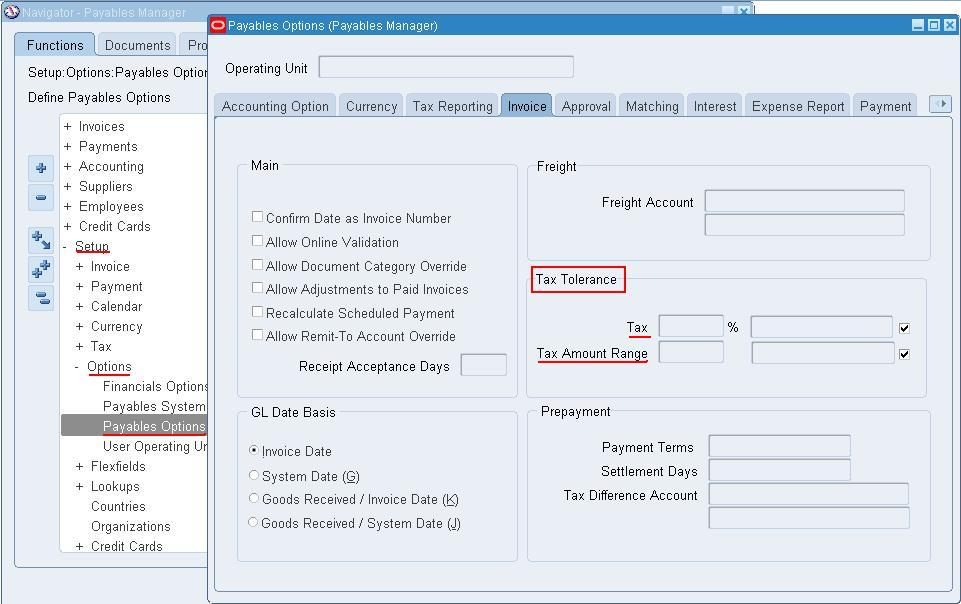 Oracle Apps, Adf, Soa: What Is Tolerance In Payables And How To