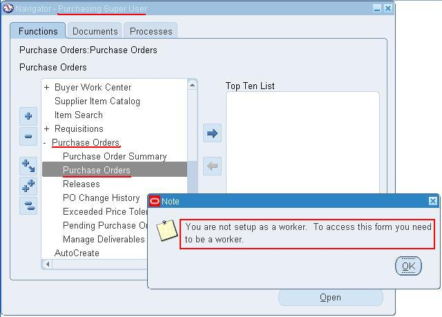 Oracle Apps, ADF, SOA: Setup user as a worker to access Purchase ...