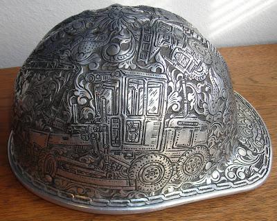 Amazing Hand Tooled Aluminum Hard Hat