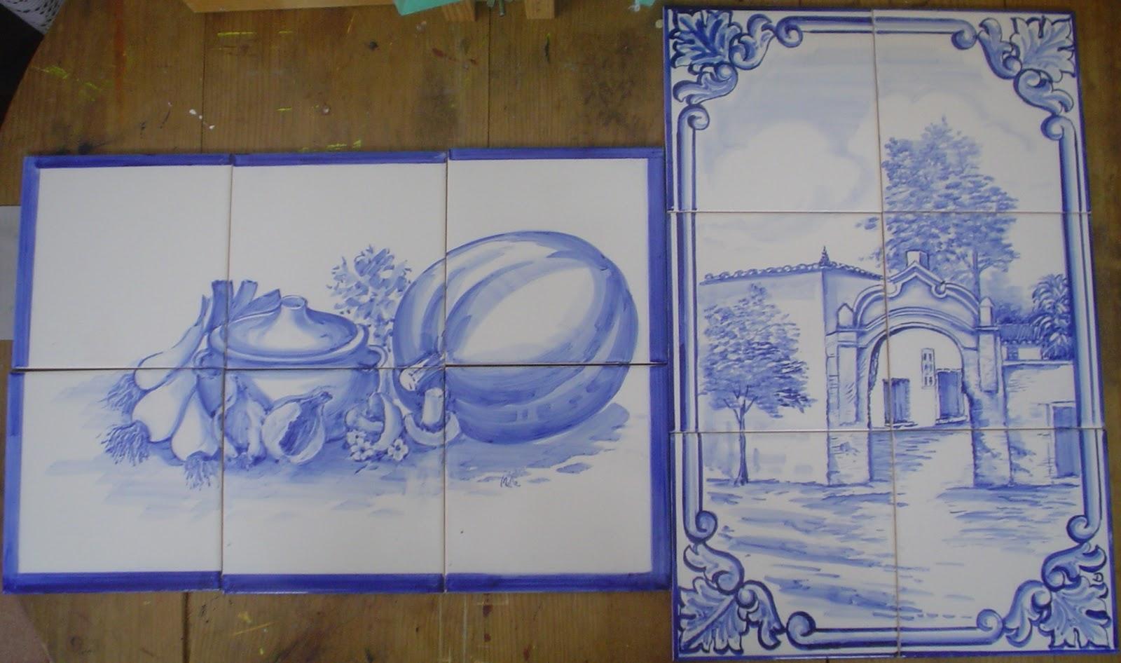 Azulejos pintados m o af curso de inicia o pintura - Pintura de azulejos ...