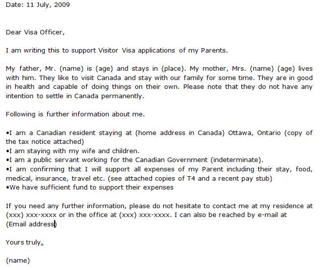 Here Sample Invitation Letter For Visit Visa Canada
